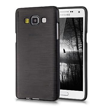 kwmobile Funda para Samsung Galaxy A5 (2015) - Carcasa de [TPU] para móvil y diseño de Aluminio Cepillado en [Antracita/Transparente]