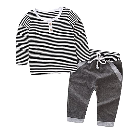 fd2ec98f3 Image Unavailable. Image not available for. Color: Kidsa 1-6T Toddler Baby  Little Boys Clothes Long Sleeve Stripe T-shirts Tops