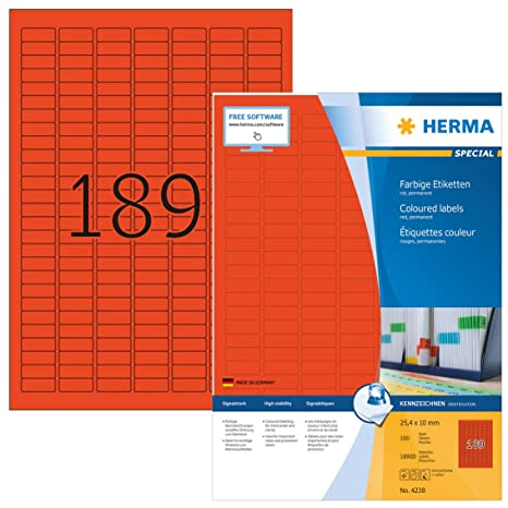 Amazon.com: Herma 4238 etiquetas de color 25,4 x 10 mm. mate ...