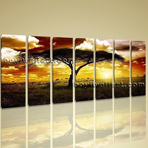 Amazon.com: Xxl Large Canvas Wall Art Print Savannah Sunset ...