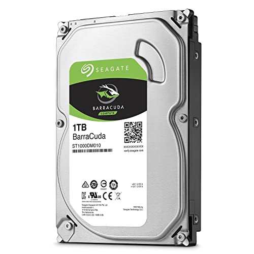 """Seagate Barracuda - 1 TB internal hard drive (3.5"""", 64 MB SATA cache from 6 GB/s up to 210 MB/s), silver,ST1000DM010"""