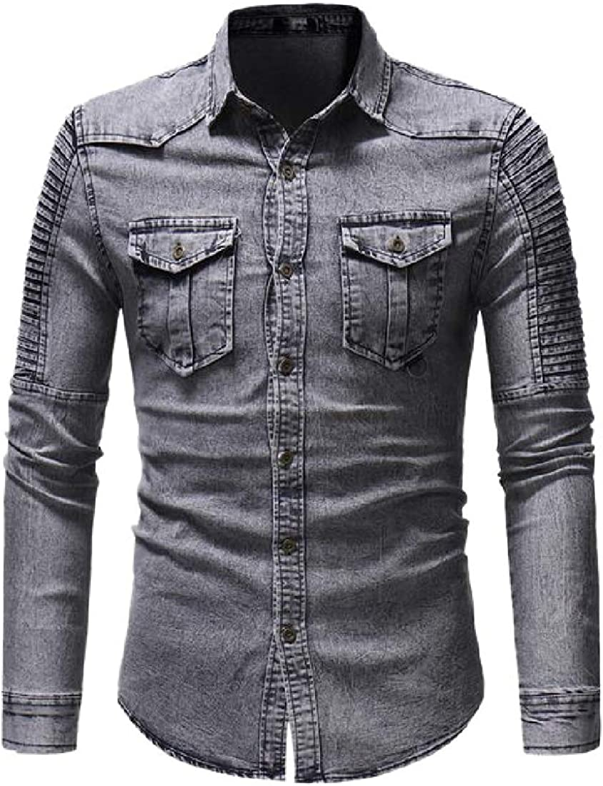WSPLYSPJY Mens Denim Work Shirt Long Sleeve Ruched Button Down Shirt