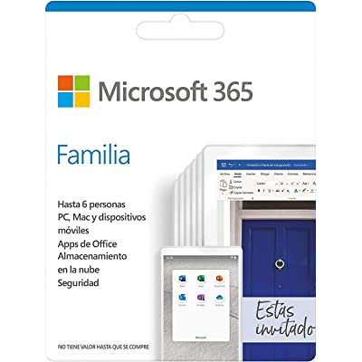 Microsoft 365 Familia   Suscripción anual o mensual   Para 6 PCs o Macs, 6 tabletas incluyendo iPad, Android, o Windows, además de 6 teléfonos   Box