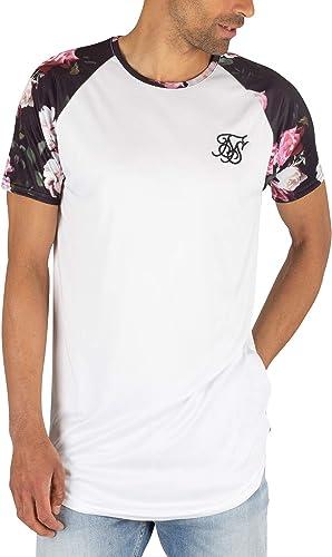Sik Silk Hombre Camiseta Raglan de Dobladillo Curvo, Blanco: Amazon.es: Ropa y accesorios