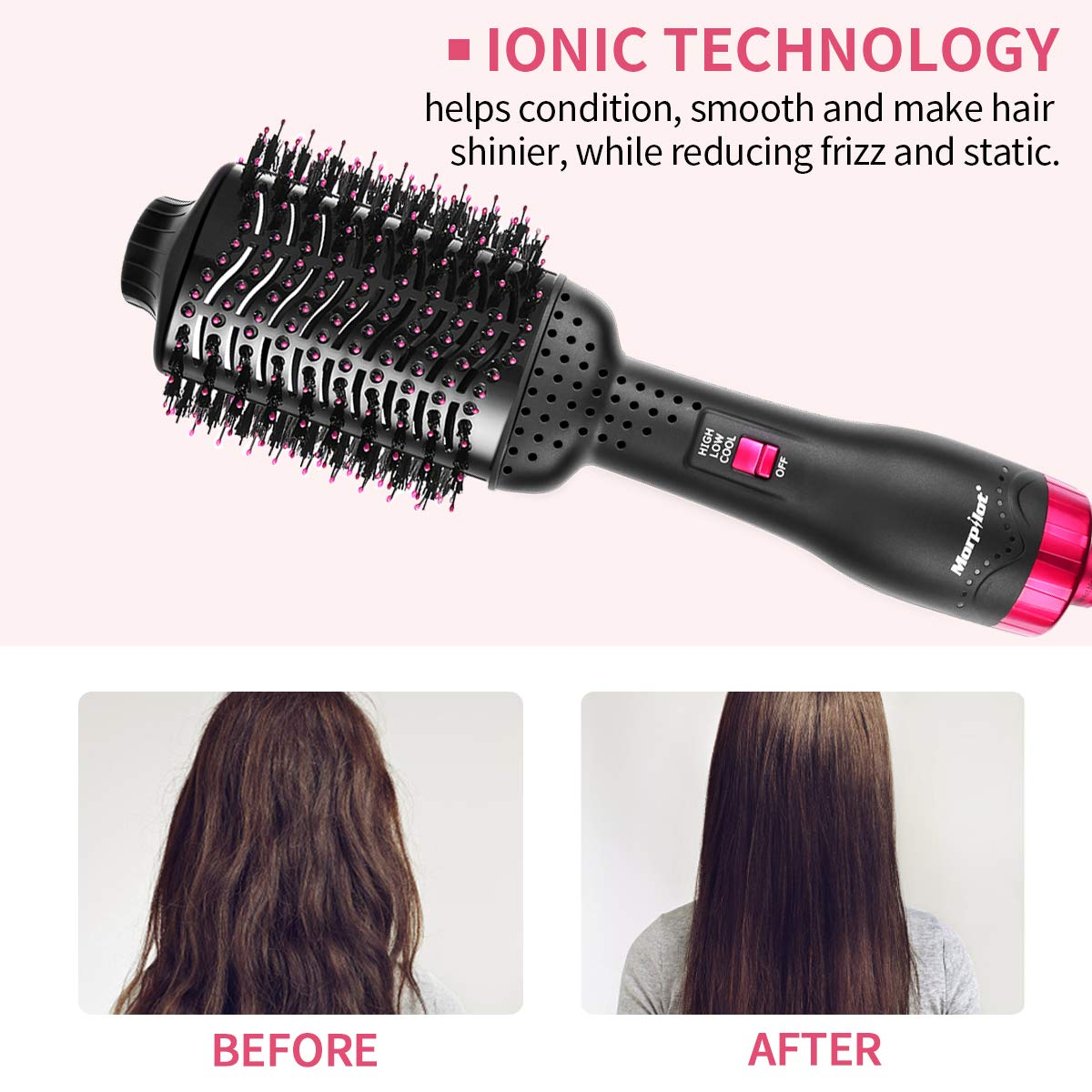 Hair Dryer Brush, Multifunctional Hair Dryer & Volumizer Salon Hot Hair Brush Roller Comb Negative Ions Hair Dryer Curler Straightener for All Hair Type
