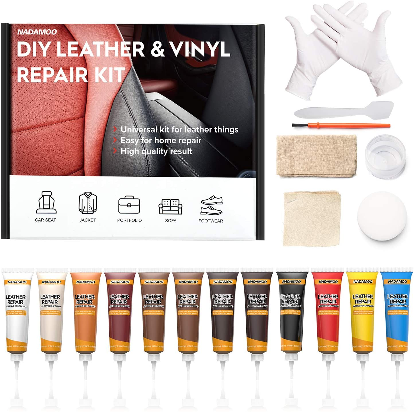 NADAMOO Leather Repair Kit for Couches, Vinyl Repair Kit for Furniture, Car Seats, Sofa, Jacket, Purse, Belt, Shoes, Boat - Scratch Filler Leather Care DIY Leather Fix Kit Repairs Tears Burn Holes