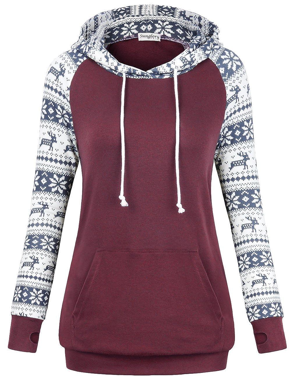 UXELY Women Long Sleeve Patchwork Elepant Paisley Hoodie Sweatshirts with Kangaroo Pocket