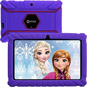 Contixo 7 Inch Kids Learning Android Tablet Parental Control 16GB for Home School Education - Google Certified PreLoaded Children Educational Apps - Child Proof Case - Great Gift For Toddlers (Purple)