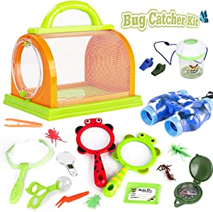 [Upgraded 2020] Outdoor Explorer Set,20 Pcs Nature Exploration Kit for Kids,with Binoculars,Magnifying Glass,Butterfly Net & Backpack Great Gift for Boys & Girls Camping,Hiking,Adventure