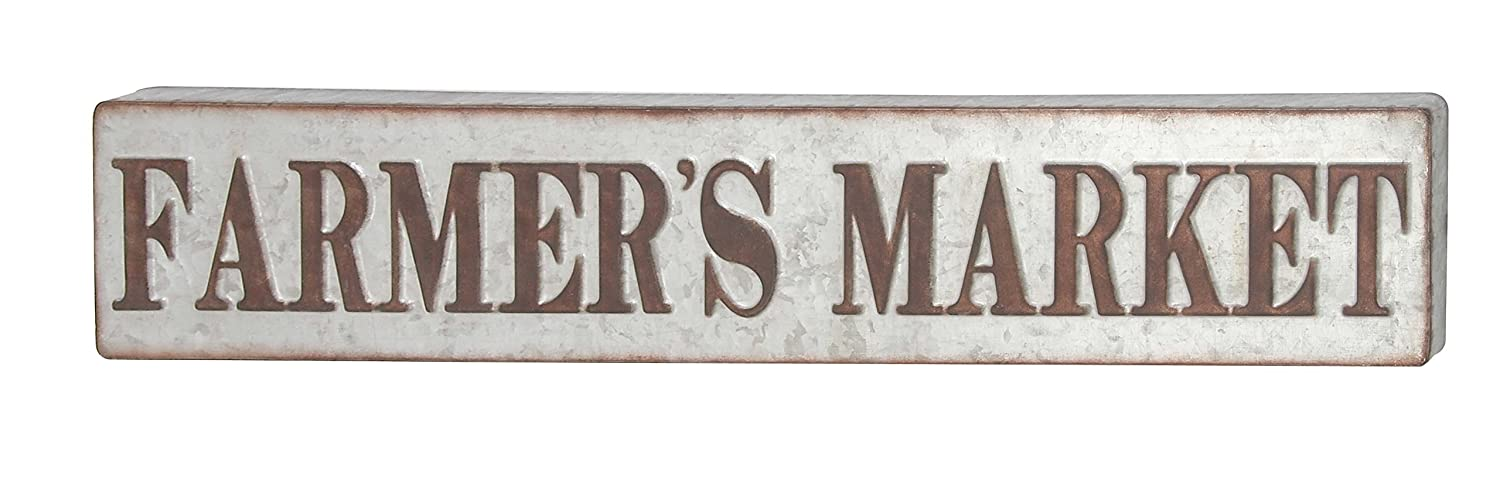 "Deco 79 59449 Distressed Iron Farmer's Market Wall Sign, 7"" x 36"", Brown/Gray"