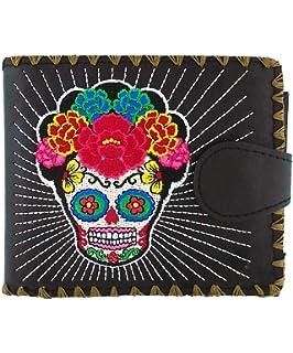 d4004f9ad48b Lavishy Flower Sugar Skull Day of the Dead Embroidered Medium Wallet ...