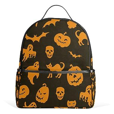 JSTEL Halloween Pumpkin Cat Ghost Bat School Backpack 4th 5th 6th Grade for Boys  Teen Girls 9833411f31a34