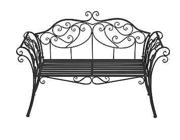Ornate Metal Garden Bench In Cream