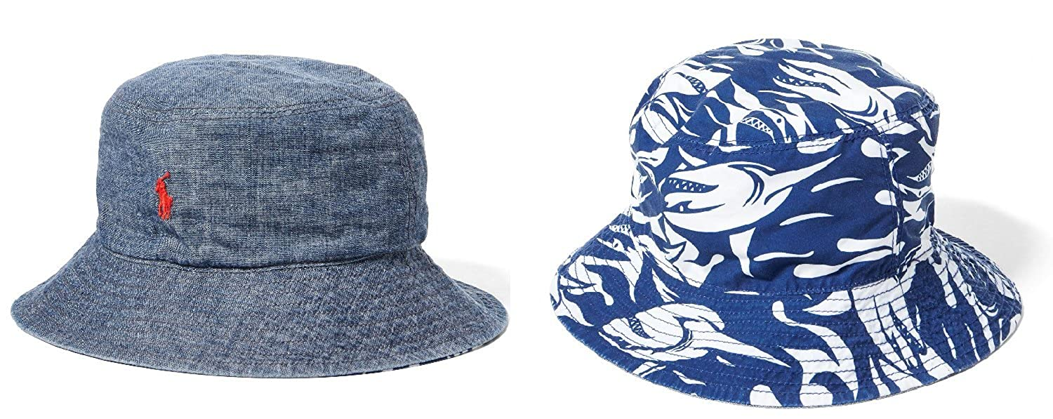 dc661411bf2af Amazon.com  Polo Ralph Lauren Boys Reversible Chambray Bucket Hat  Clothing