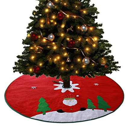 tocode christmas tree skirt red large 48 inch xmas tree skirts santa claus pattern red - Amazon Christmas Decorations Indoor