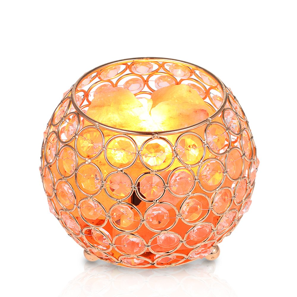 Himalayan Rock Salt Lamp Crystals 15W Spare Bulb with Bowl Base Dimmer Switch Bedside Table Lamps Tomshine