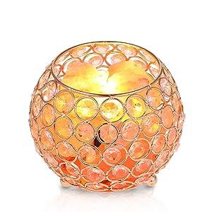 Lampada di Sale Himalaya con Cestino in Metallo, Tomshine Luce Notturna Lampada da Tavolo E14 Dimmerabile Per Salotto e Camera da Letto