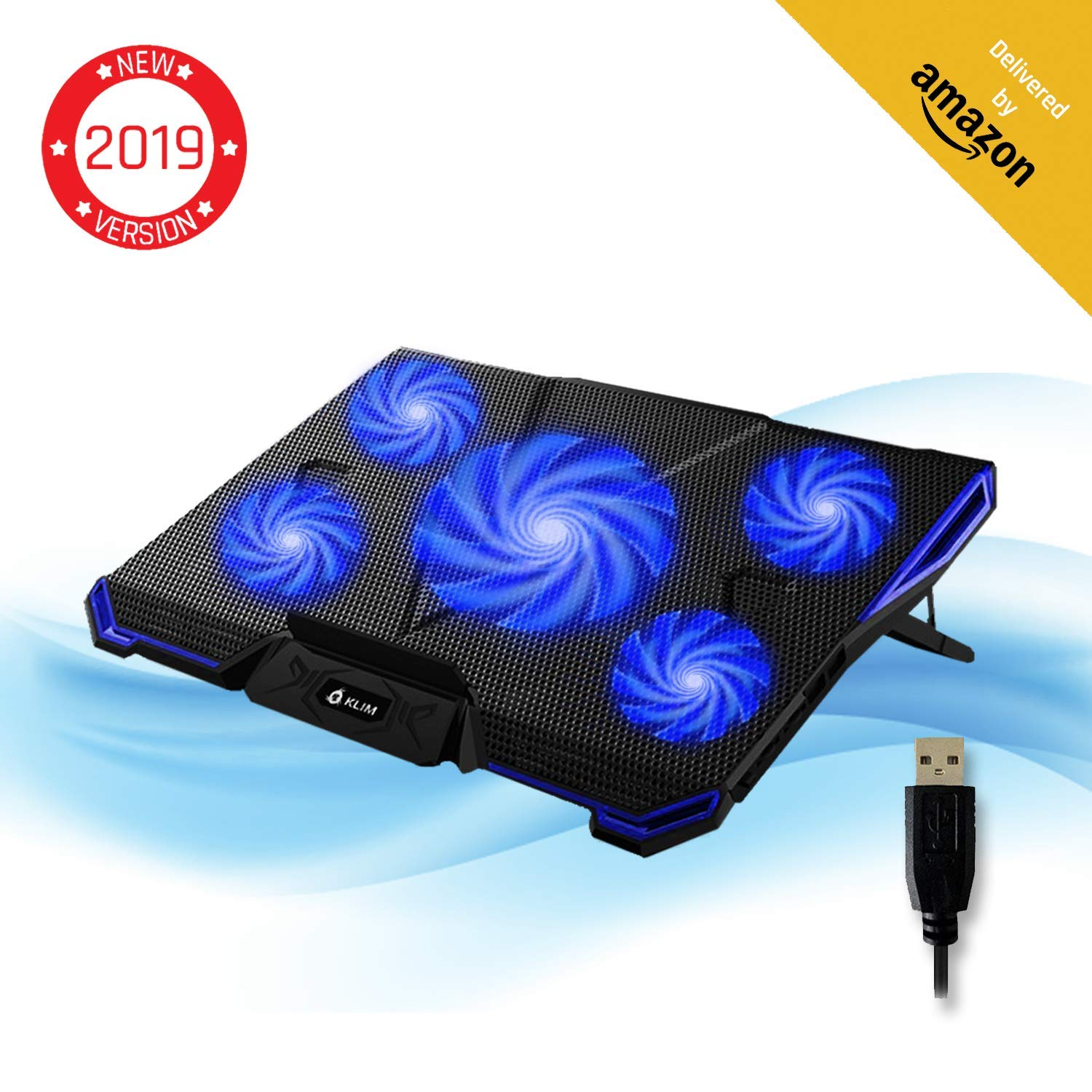 ??KLIM Cyclone Laptop Cooling Pad – 5 Fans Cooler – No More Overheating – Increase Your PC Performance and Life Expectancy – Ventilated Support for Laptop – Gaming Stand to Reduce Heating – Blue