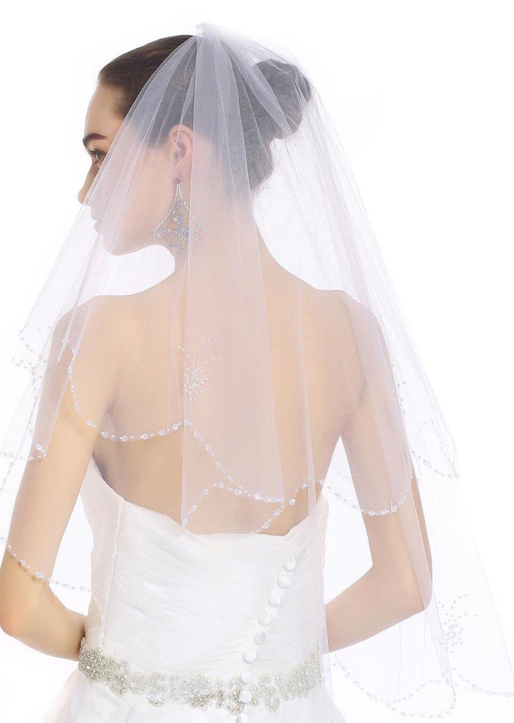 Passat White Two Tier NEW! Rhinestone Scrolled Scallop-Edge Fingertip Cheap Bridal Veil 257