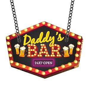 YaYa cafe MDF Wood Daddy Bar Open 24x7 Wall Door Hanging for Dad, 11x13inch(Brown/Ochre)