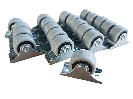 Juego de 20 ruedas giratorias de plástico de 25 mm con placa de metal y accesorios