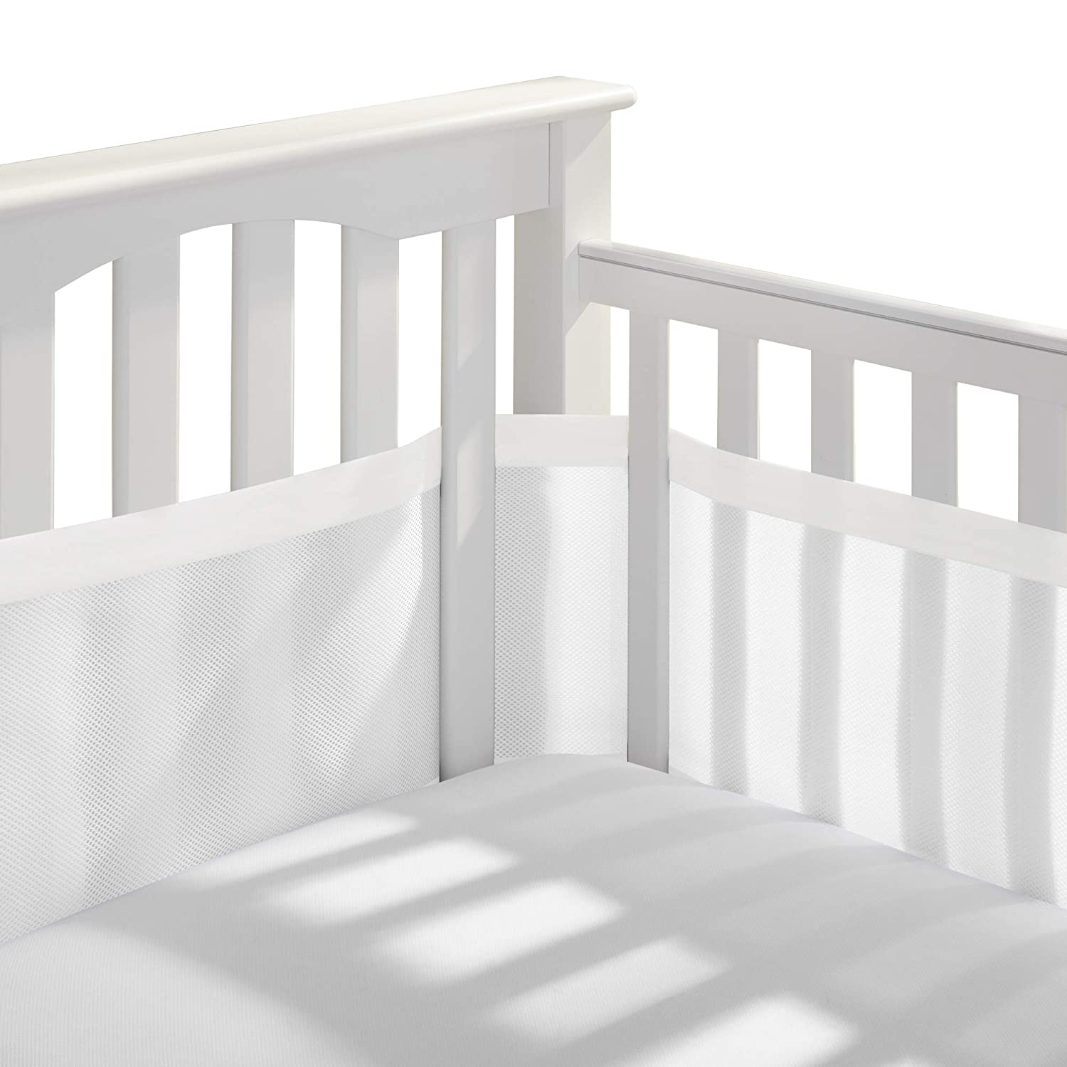 BreathableBaby Deluxe Patented, Safer for Baby, Anti-Bumper, Non-Padded, Breathable Mesh Crib Liner – White and Muslin Trim