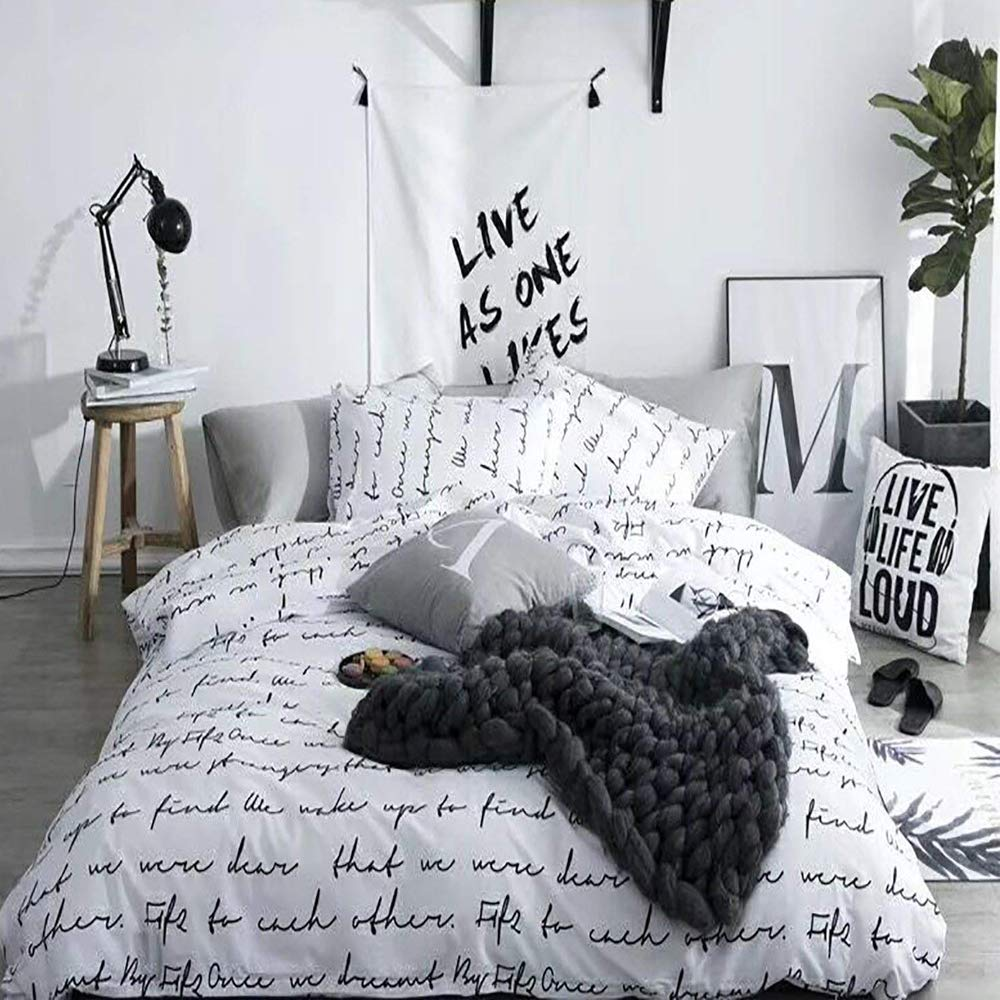 karever White Duvet Cover Sets Black Love Letters Cotton Queen Full Bedding Set Man Woman Boys Girls 1 Duvet Cover 2 Pillowcases, Reversible