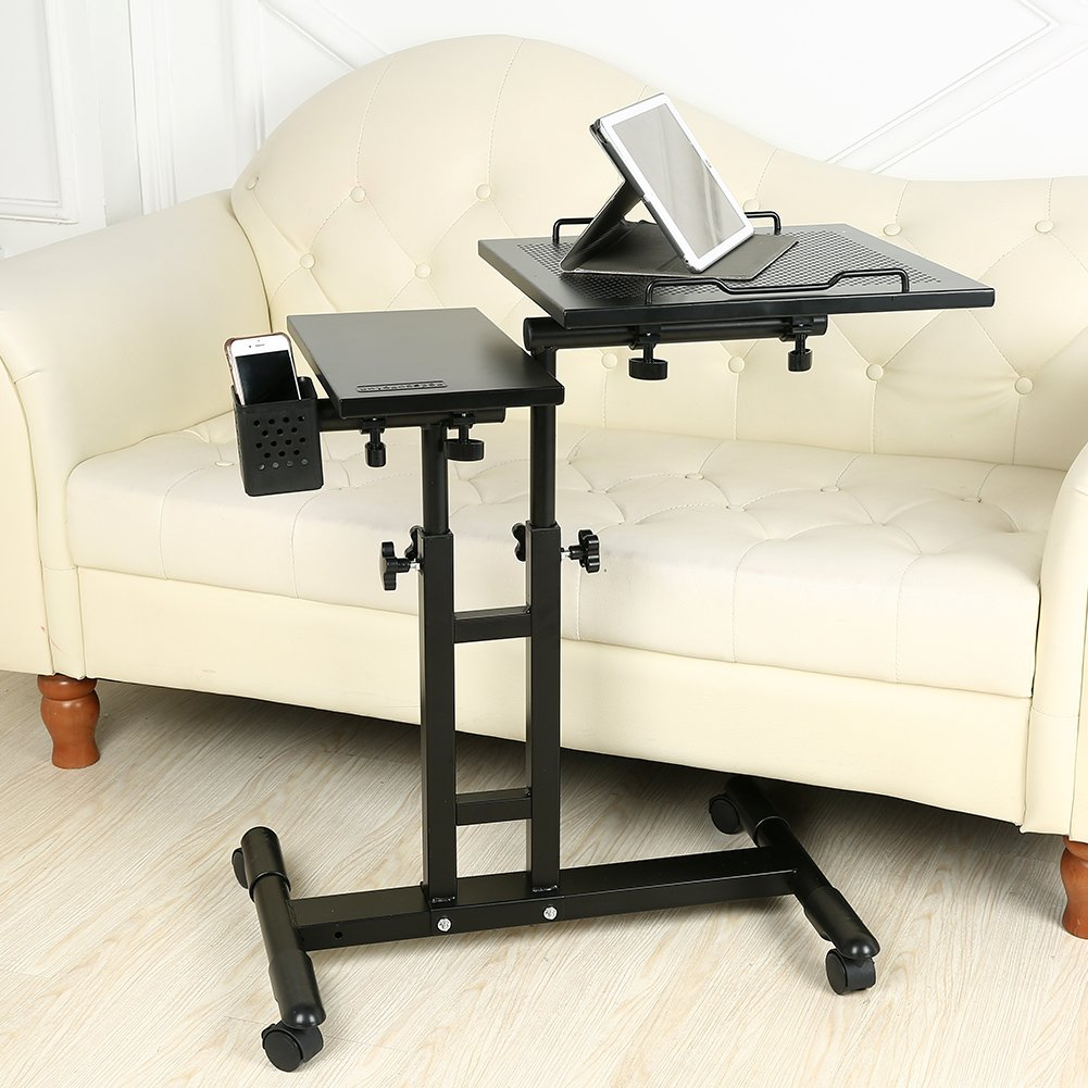 Redscorpion Adjustable Height Rolling Mobile Laptop Desk Table Computer Desk Cart Over Sofa Bed Table(Black) by Redscorpion (Image #5)