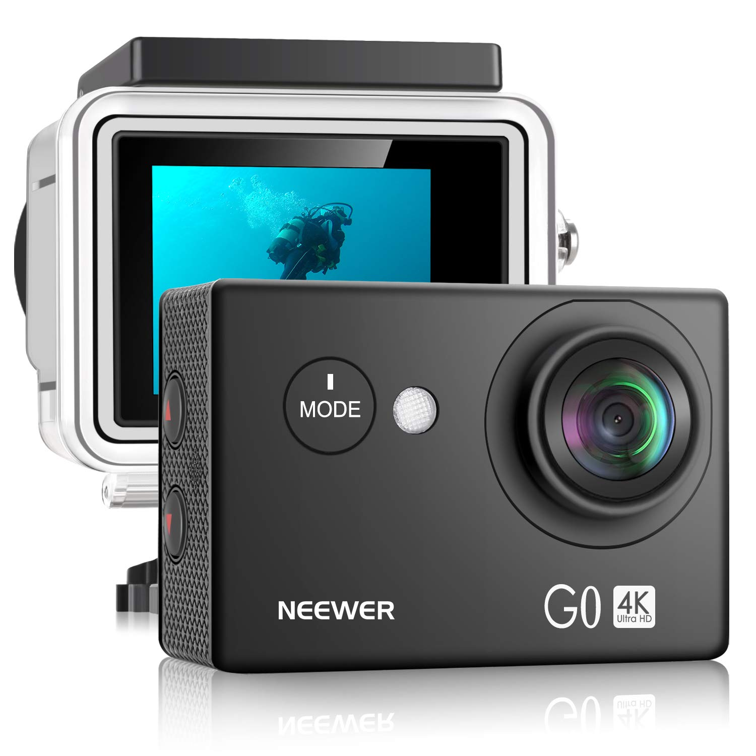 Neewer G0 HD 4K Action Camera 12MP, 98 ft Underwater Waterproof Camera: 170 Degree Wide Angle WiFi Sports Cam 2-inch Screen, Battery Mounting Accessories Kit (Black) by Neewer