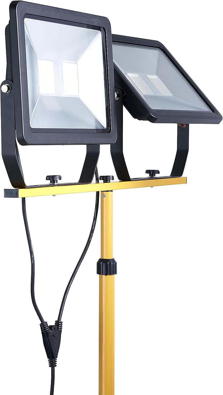 Northpoint LED Blackline Baustrahler Arbeitsstrahler Fluter 100W Leistung 8000 Lumen Lichtstrom stabiles Standgestell AN//AUS Schalter und 3m Zuleitung