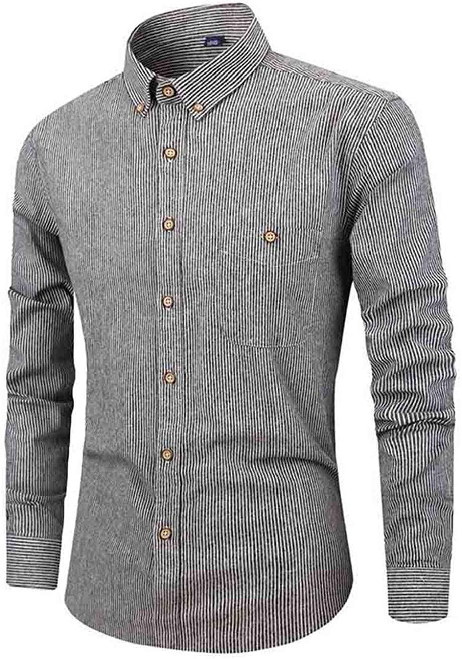 S-Fly Men Long Sleeve Striped Cotton Flap Pockets Single Breasted Skinny Autumn Shirt