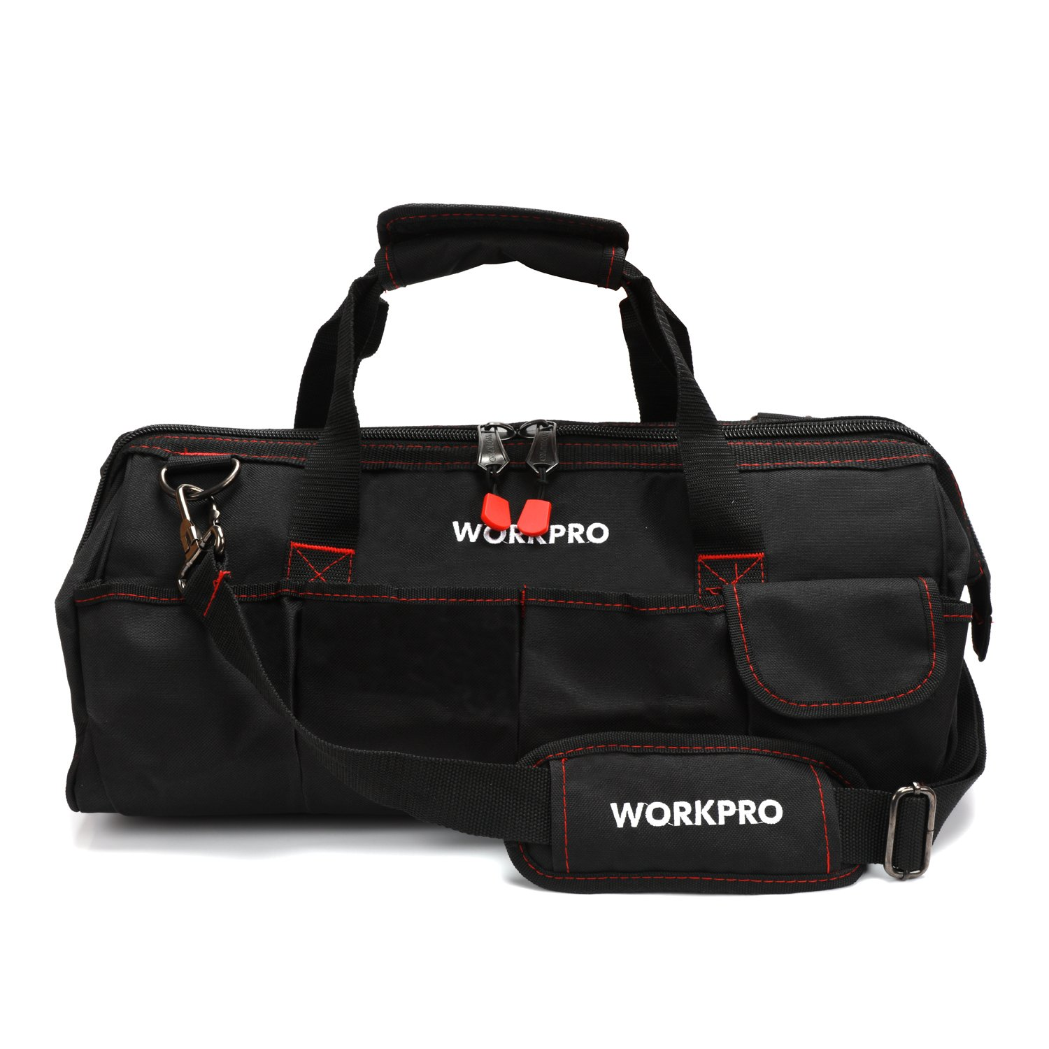 WORKPRO W081023A Close Top Storage Tool Bag, 18'', Black/Red by WORKPRO