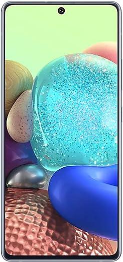 هاتف سامسونج جالكسي ايه 71 ثنائي شرائح الاتصال بسعة 128 جيجا وذاكرة رام 8 جيجا، الجيل الخامس ال تي اي، بننمط منشور مكعب، باللون الازرق