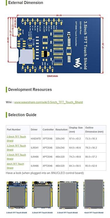 Waveshare 3 5inch Resistive Touch Screen TFT LCD 480x320 Resolution LCD  Shield Compatible with Development Boards of Arduino UNO/Leonardo/UNO