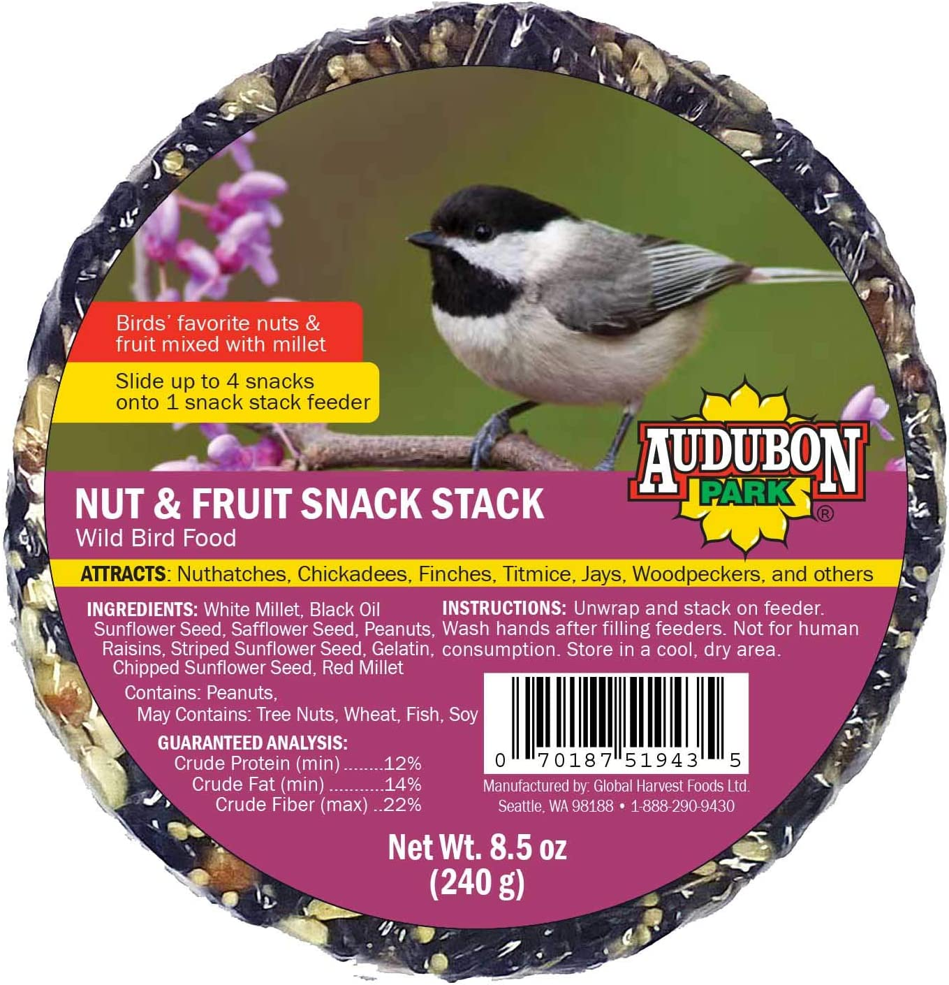 Audubon Park 13142 Nut and Fruit Snack Stack Wild Bird Food, 6-Pack