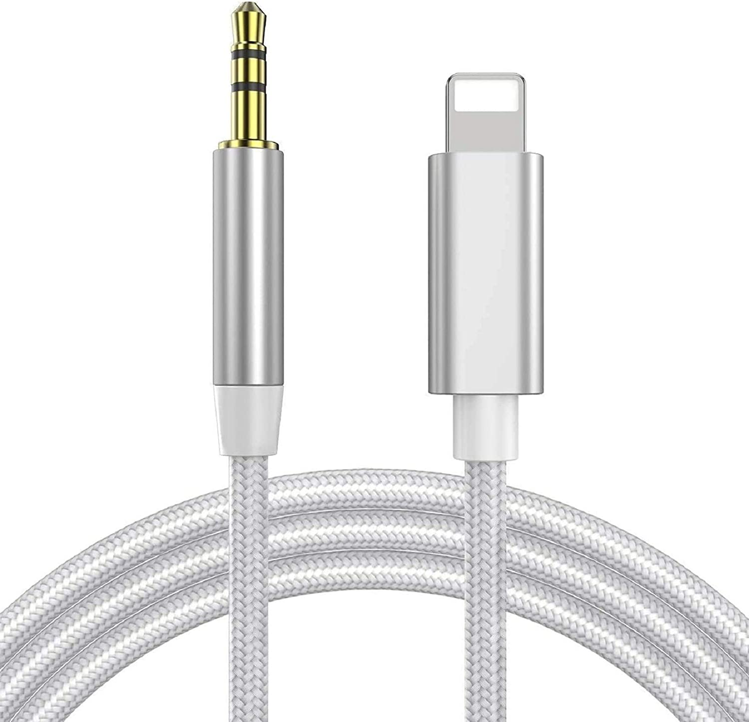 iPhone Aux Cord for Car, [Apple MFi Certified] Lightning to 3.5 mm Jack Nylon Braided Audio Stereo Cable for iPhone 11/11Pro/Xs/Xr/X/8/7 iPad to Headphones,Car/Home Stereo,Speaker - Silver/3.3FT