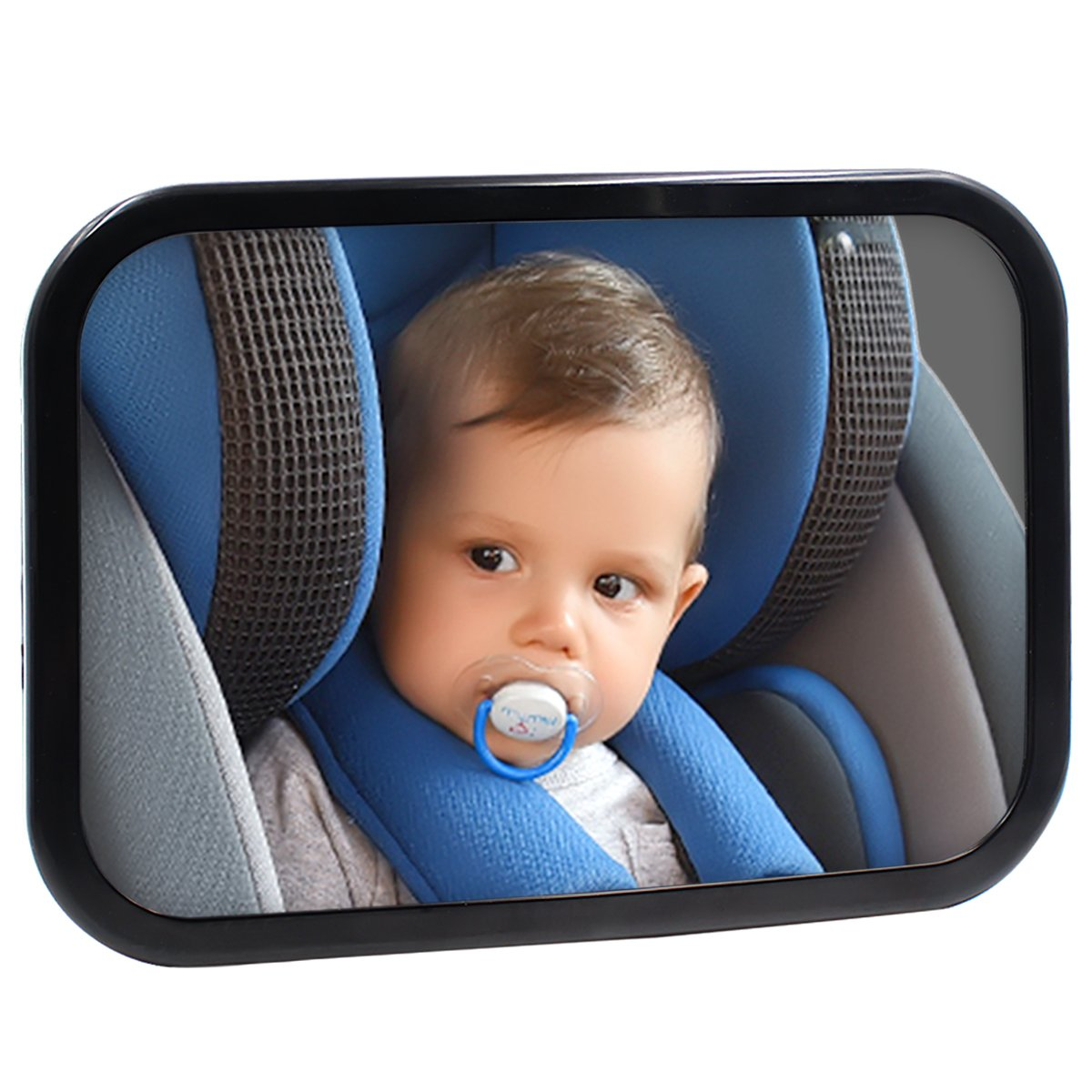 Safe Baby Car Mirror for Rear View Facing Back Seat for Infant Child,Fully Assembled and Adjustable,Backseat Shatterproof Mirror with Perfect Reflection By Hippih