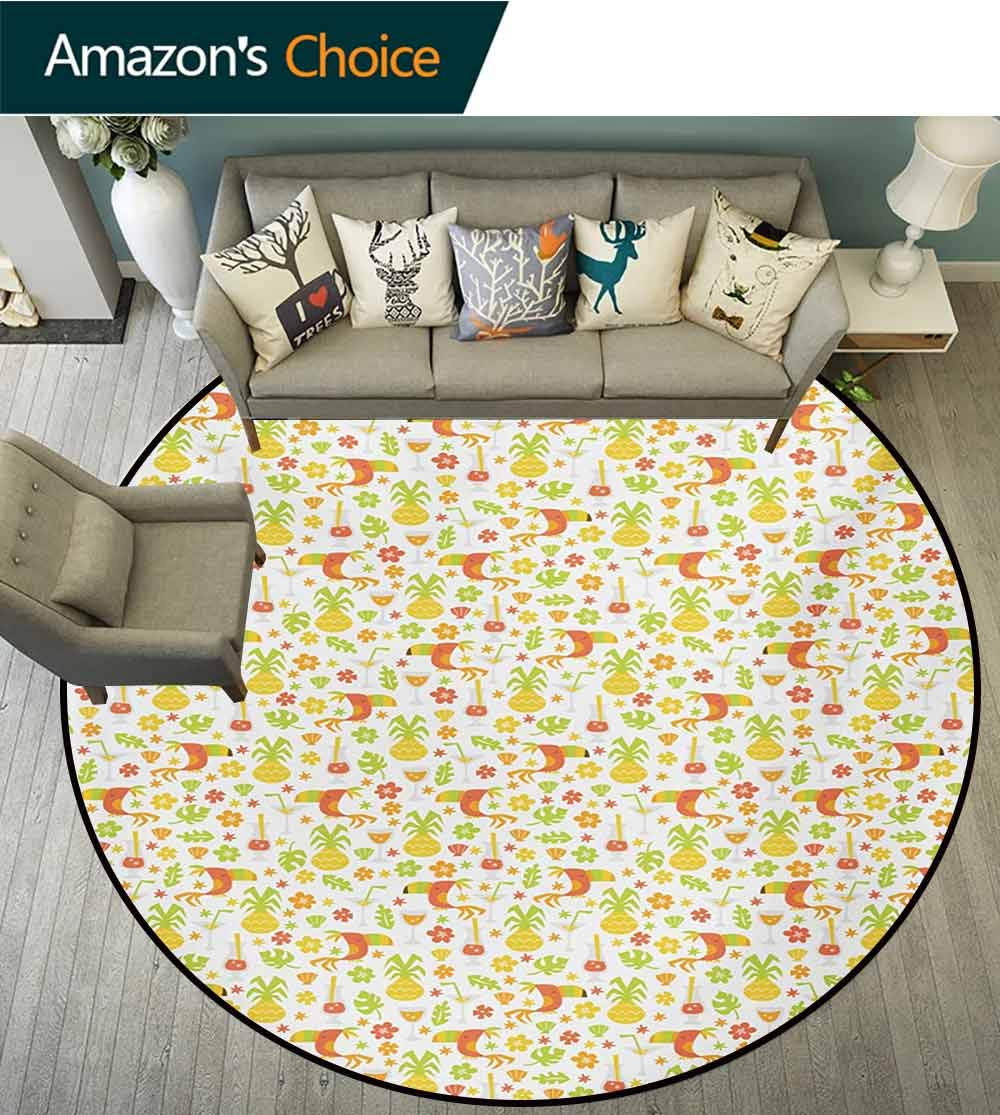 RUGSMAT Luau Modern Vintage Rugs,Tropical Birds and Trees Plants Leaves Flowers Nature Party Theme Area Rug - Perfect for Any Place,Diameter-71 Inch Apricot Dark Orange Apple Green