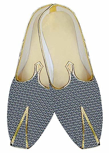 Mens Steel Blue Wedding Shoes Printed Cotton MJ017034