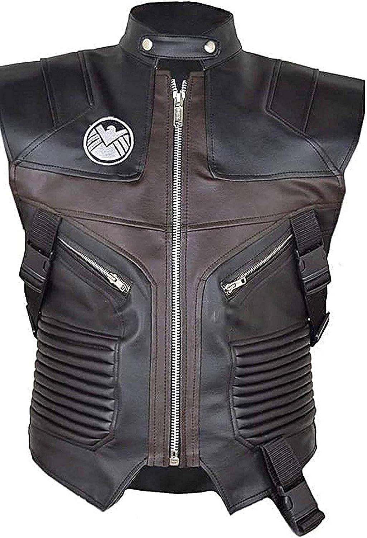 Avengers Jeremy Hawkeye Vest Brown Leather Biker Vest for Men