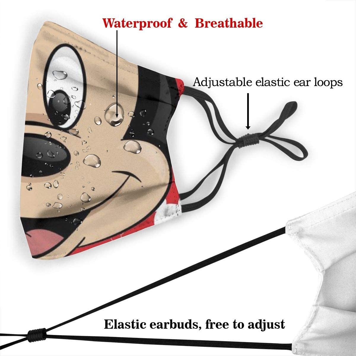 CBHGJ Mickey Mouse Mouth Guard with Filter Unisex Anti-Dust Washable Reusable Mouth Guard for Kids Teens Adults