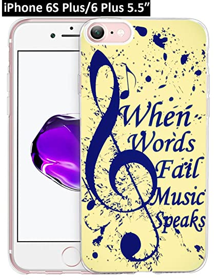 new style 97ab2 35596 6S Plus Case Music Note,Ecute Soft Slim Flexible Clear Rubber Side + Style  Hard Back Case for iPhone 6S Plus/6 Plus 5.5