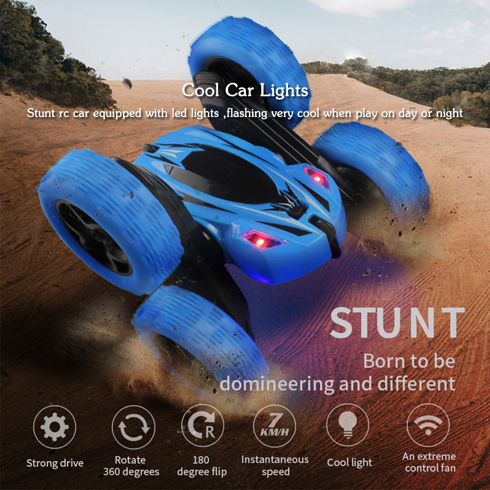 Jellydog Toy Stunt Rc Car, Remote Control Car, 360 Degree Flips Double Sided Rotating Race Car, High Speed Flashing Remote Controlled Car for Kids,Blue by Jellydog Toy (Image #4)