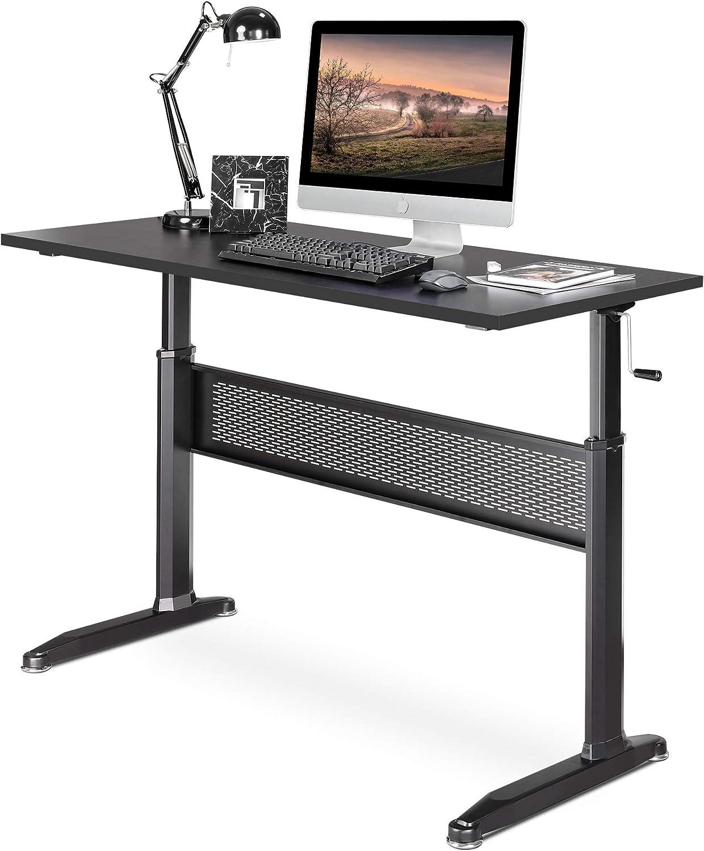 Standing Desk Crank Adjustable Sit to Stand Workstation with Monitor Shelf Black