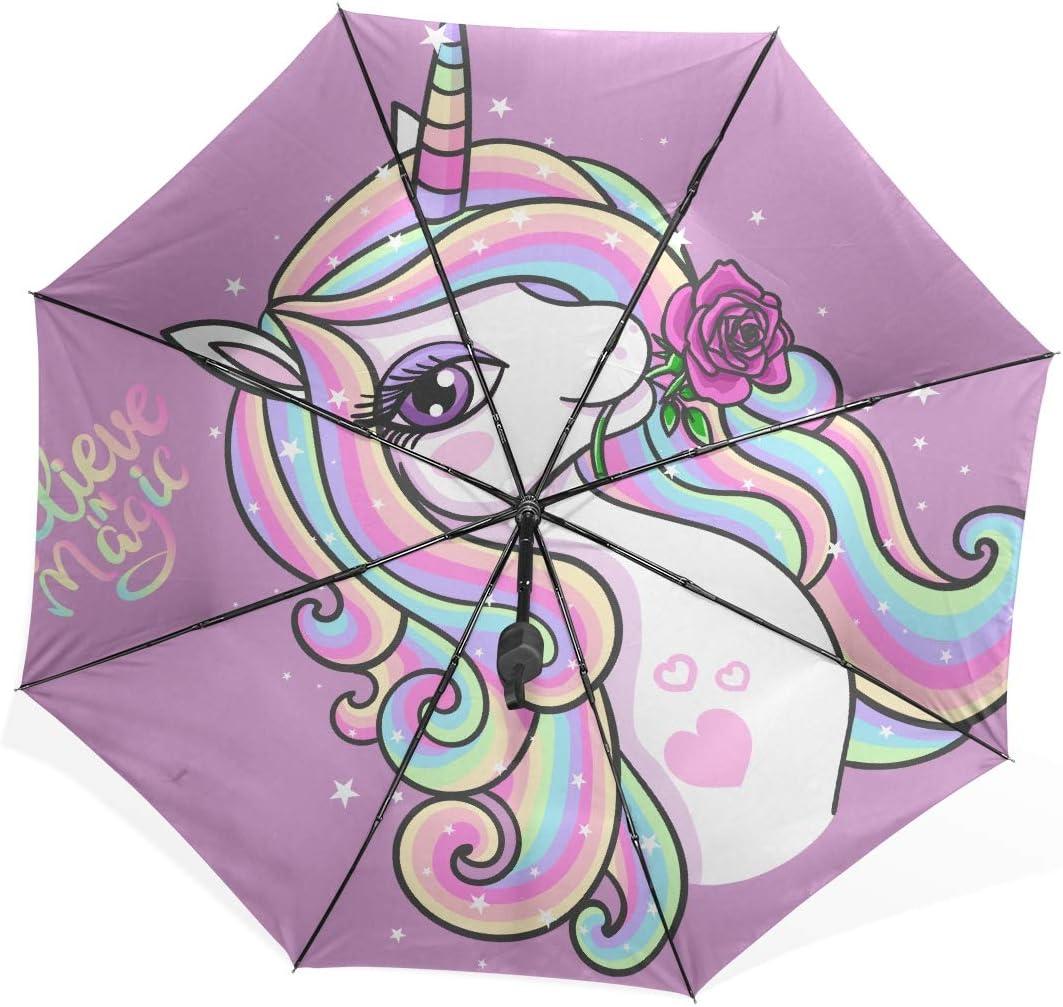 Car Umbrella Believe Magic Beautiful Rainbow Unicorn Rose Portable Compact Folding Umbrella Anti Uv Protection Windproof Outdoor Travel Women Large Tote Umbrella