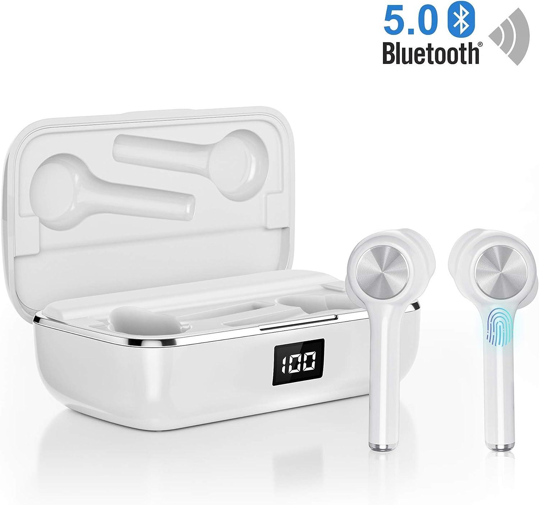 Auriculares bluetooth, Orit Auriculares inalámbricos Bluetooth 5.0 Sonido Estéreo Auricular Mini Twins In-Ear Auriculares Carga Rapida Resistente al Agua con Caja de Carga para iPhone y Android