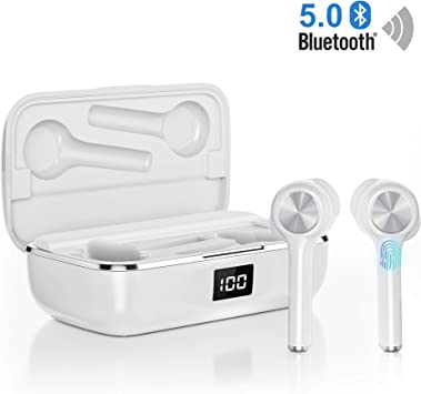 orit Écouteurs Bluetooth sans Fil, Oreillette Bluetooth 5.0 Léger Stéréo 40 Heures Playtime Réduction du Bruit CVC8.0 avec Microphone HD et boîte de Recharge Casque pour Sport Smartphones
