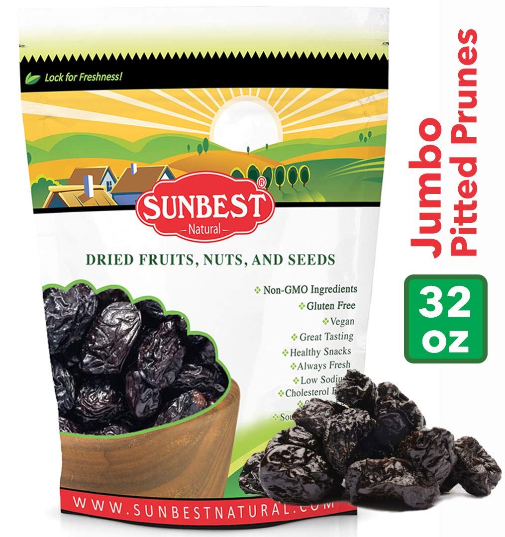 SUNBEST Pitted Dried Prunes, Dried Plum - Pitted in Resealable Bag (2 Lb) by Sunbest