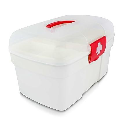 Grinscard Estuche médico Portátil con Compartimento de Almacenamiento - 27 x 18 x 17 cm - Caja de medicamentos Almacenamiento y Transporte de ...