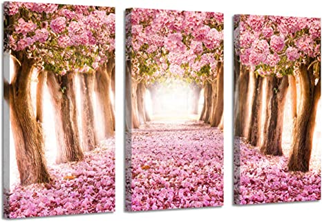 Amazon Com Landscape Pictures Tree Alley Artwork Forest Path With Pink Bloom Flowers Paintings Print On Wrapped Canvas For Wall Arts Set Overall 48 W X 26 H Multi Sized Posters Prints